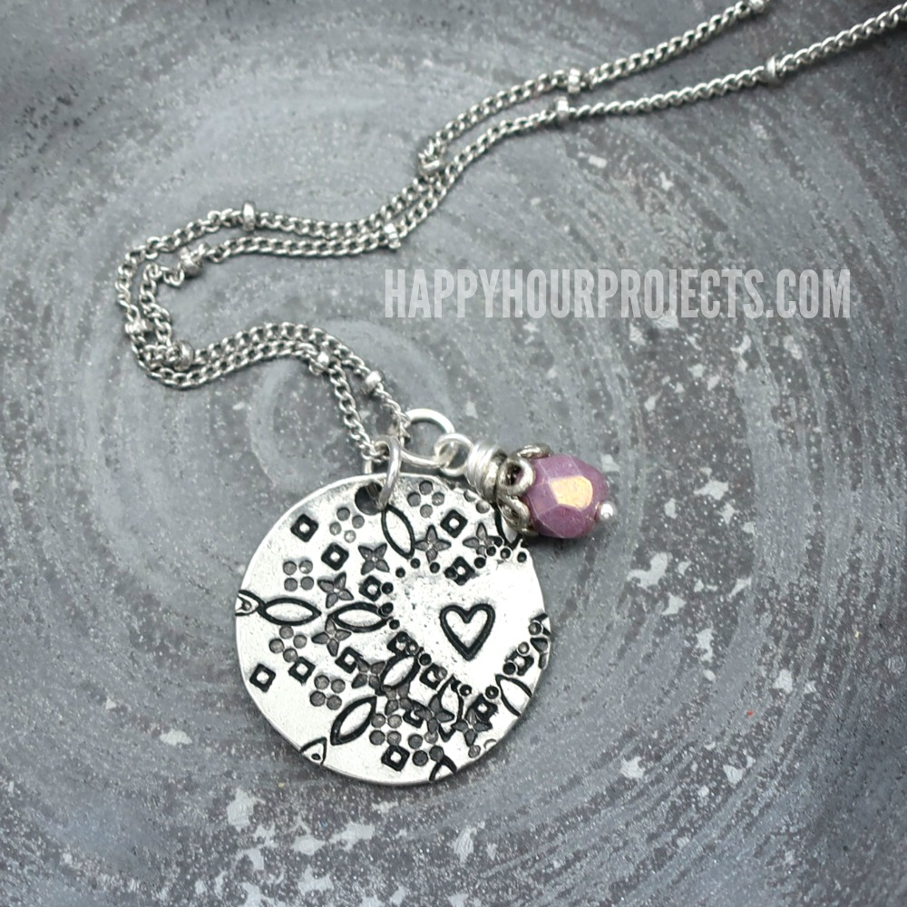 Hand Stamped Jewelry | Heart Mandala Style Pendant at happyhourprojects.com. Makes a great Mother's Day gift!