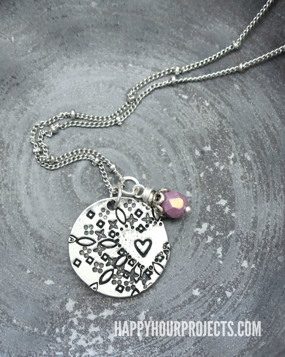 Hand stamped jewelry mandala style heart pendant happy hour projects hand stamped jewelry heart mandala style pendant at happyhourprojects makes a great mozeypictures