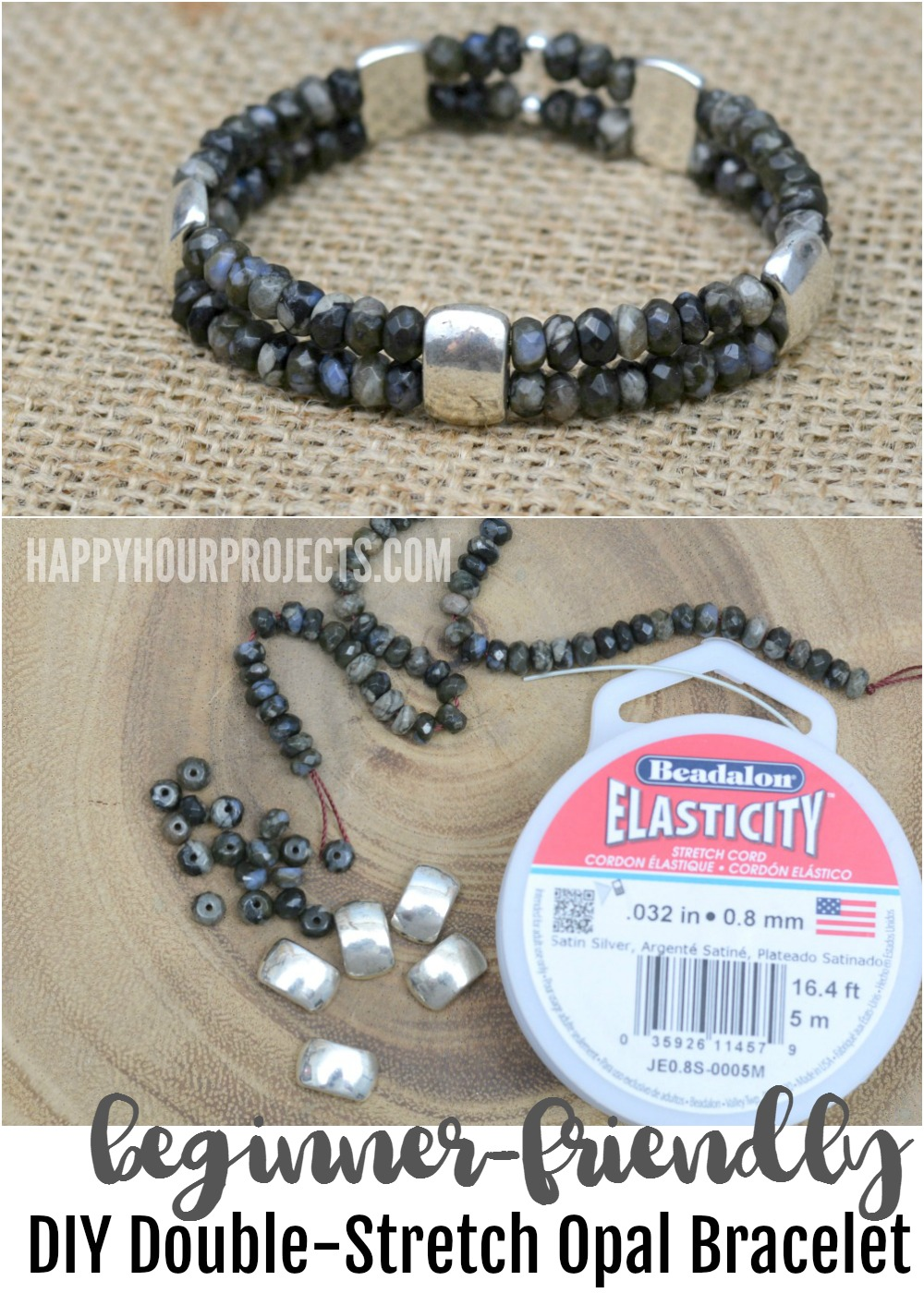 A beginner jewelry tutorial for making a double strand opal DIY stretch bracelet at happyhourprojects.com