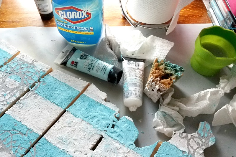 Unleash the clean squad! How I'm keeping my tiny craft space clean and organized with the help of sponsors Clorox and Viva at happyhourprojects.com