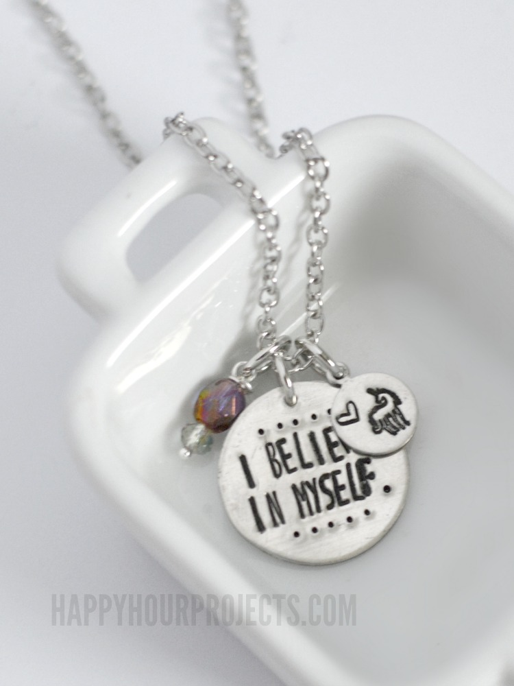 I Believe In Myself Stamped Unicorn Necklace | Design Your Own Custom Jewelry Stamp | happyhourprojects.com