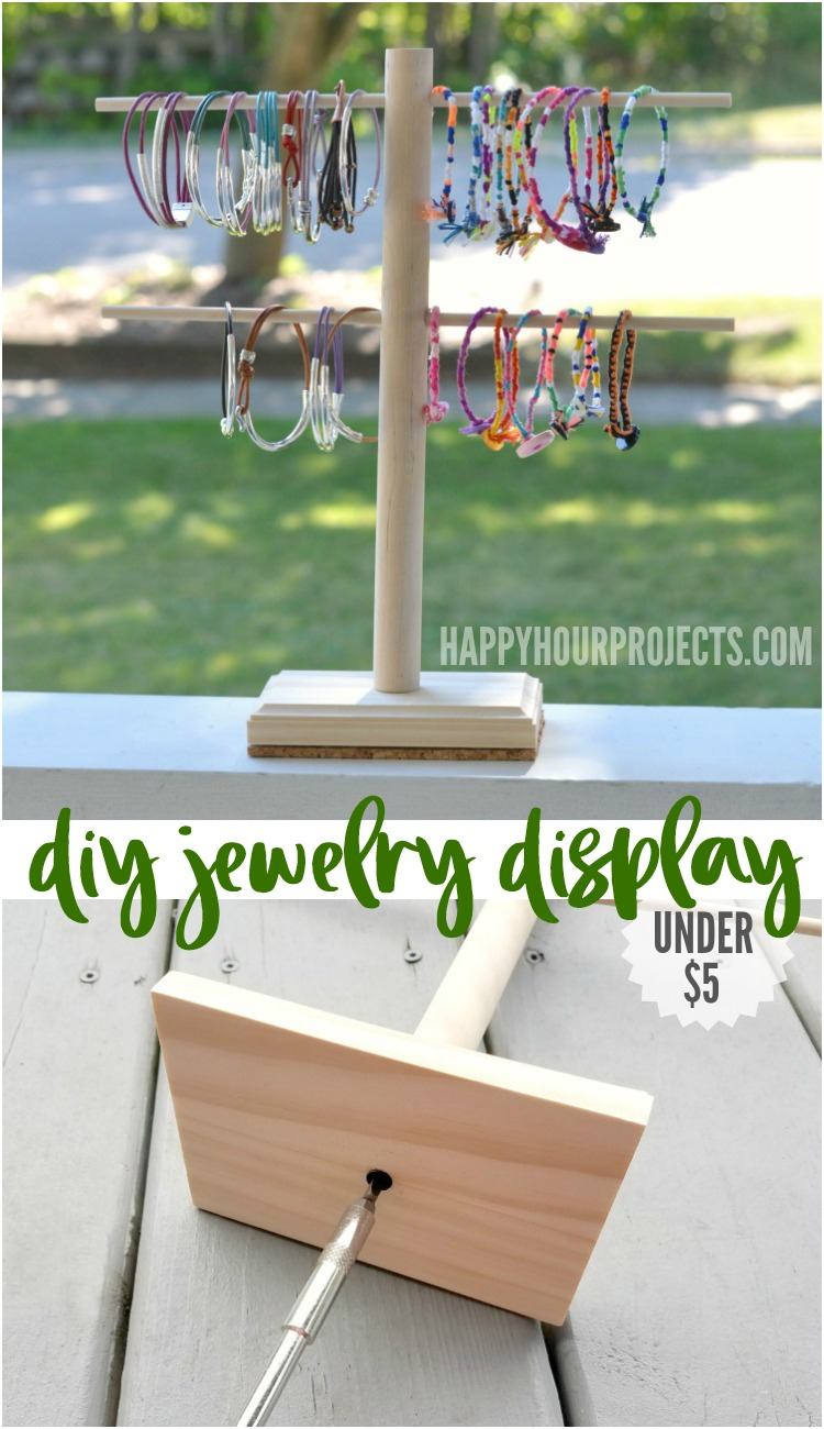 DIY Jewelry Stand for under $5 | For craft fairs, booths, storage and organization at happyhourprojects.com #Storage #Organization #CraftFair #DIY