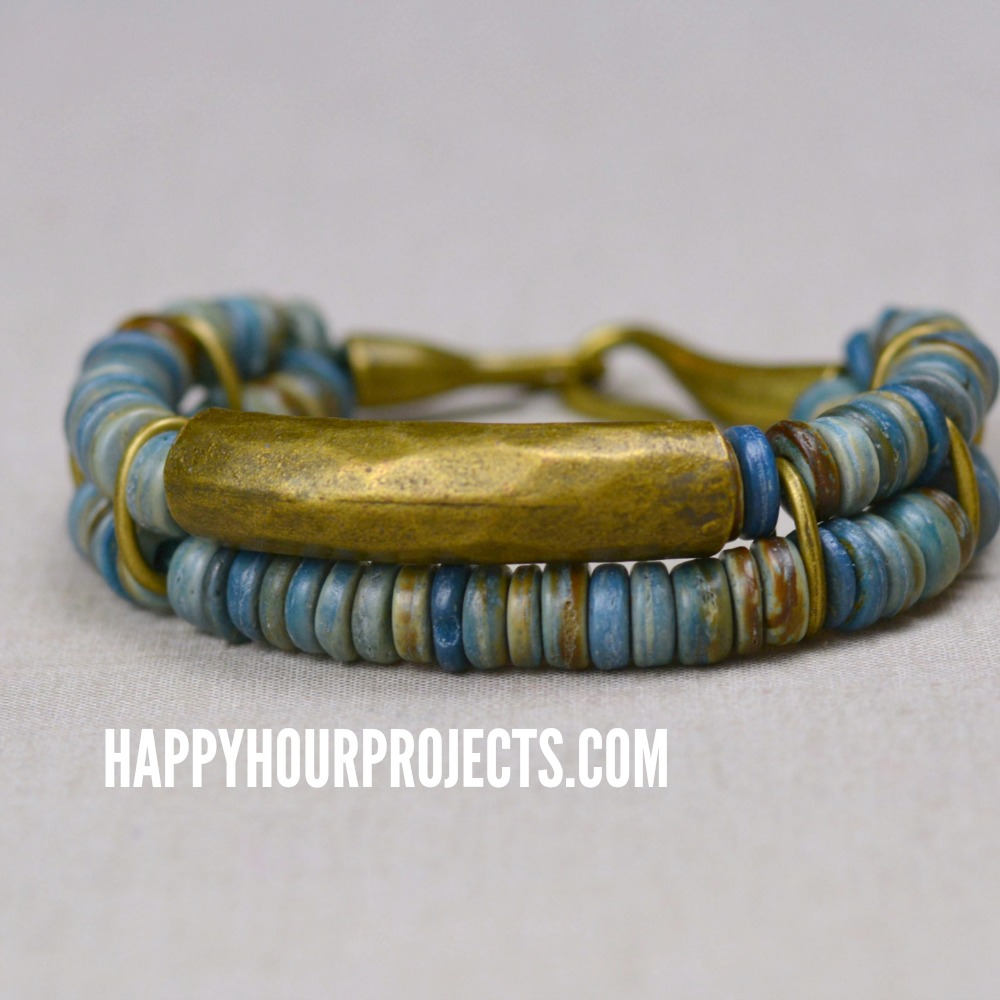 Coconut + Brass DIY Bead Bracelet at happyhourprojects.com #DIY #jewelry #fashion #crafts #accessories