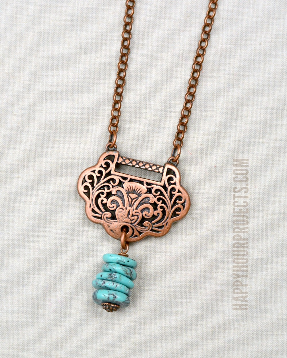 copper turquoise diy necklace happy hour projects