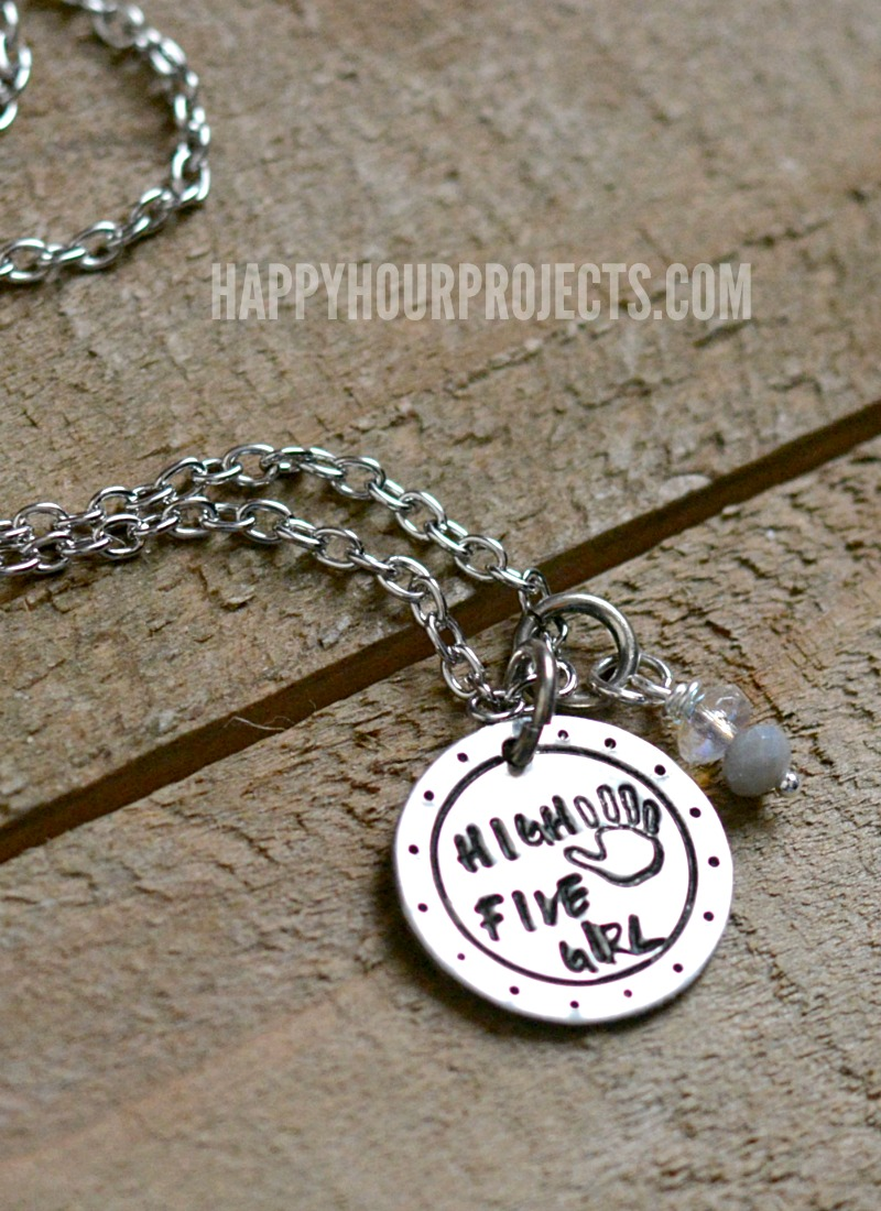 of personalized mother disc hand necklace stamped three