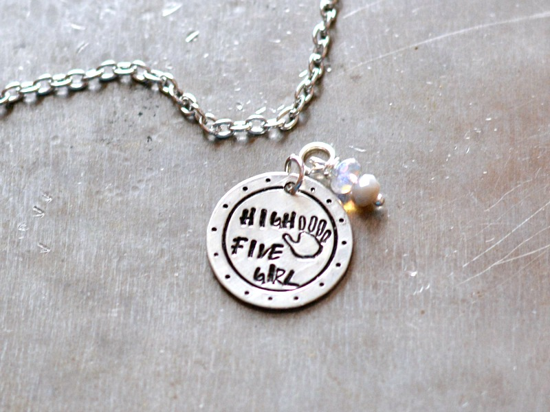 High Five hand stamped necklace at happyhourprojects.com #metalstamping #happystamping #handstamped #jewelry
