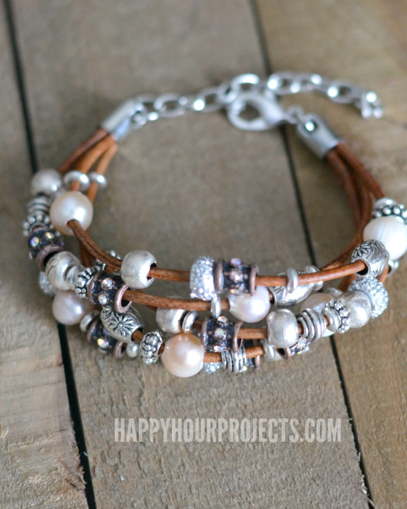 Quick Inspiration | Leather + Pewter Bead DIY Bracelet at happyhourprojects.com #DIY #Bracelet #Beads #Easy