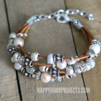 Leather + Pewter DIY Bead Bracelet