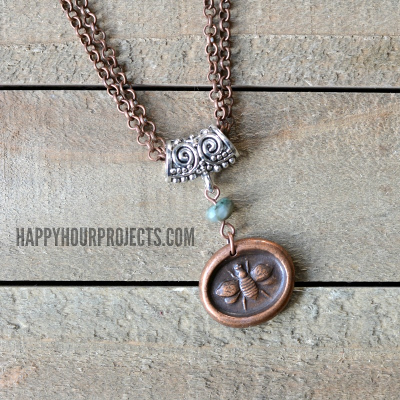 """Mixed Metal """"Bee Yourself"""" DIY Necklace at happyhourprojects.com 