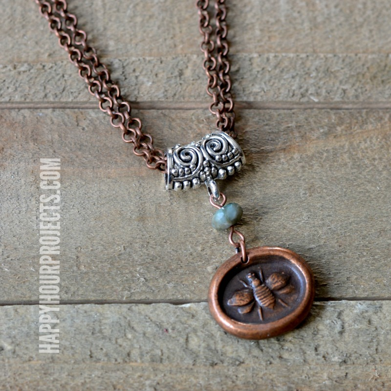 "Mixed Metal ""Bee Yourself"" DIY Necklace at happyhourprojects.com 