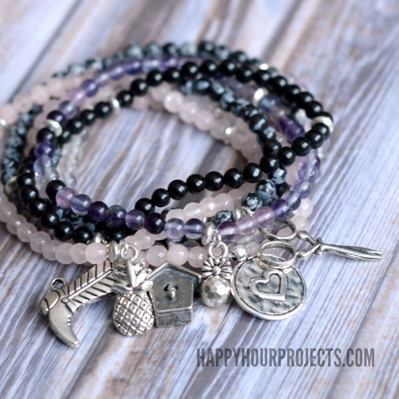 Stone Bead + Pewter Charm Easy DIY Bracelets at happyhourprojects.com | Stack together or wear alone! These easy stretch bracelets are fun to make and beginner-friendly.