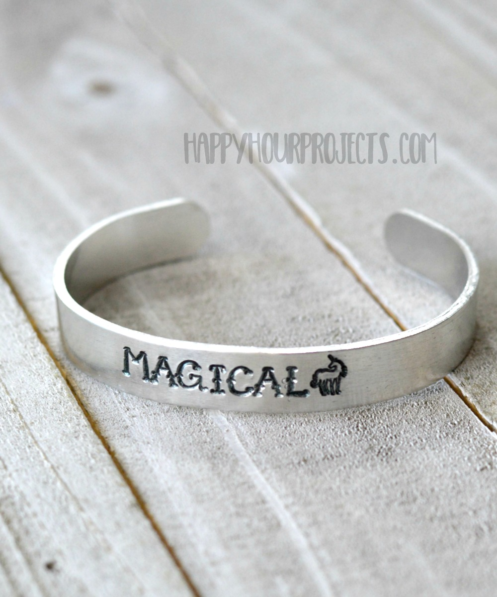 Magical Hand Stamped Cuff Bracelet | make this sweet and sassy cuff bracelet to match any wardrobe at happyhourprojects.com