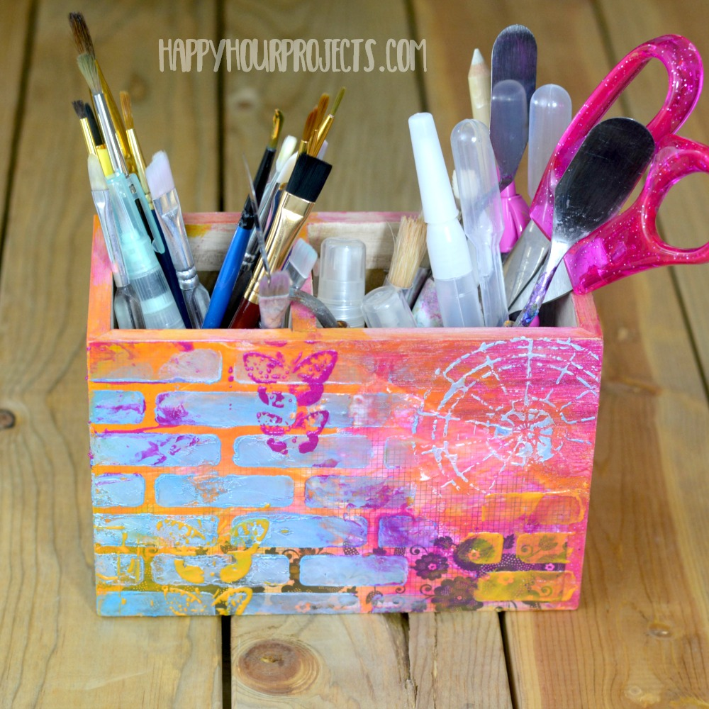 Mixed Media Decor | Stenciled Tool Organizer