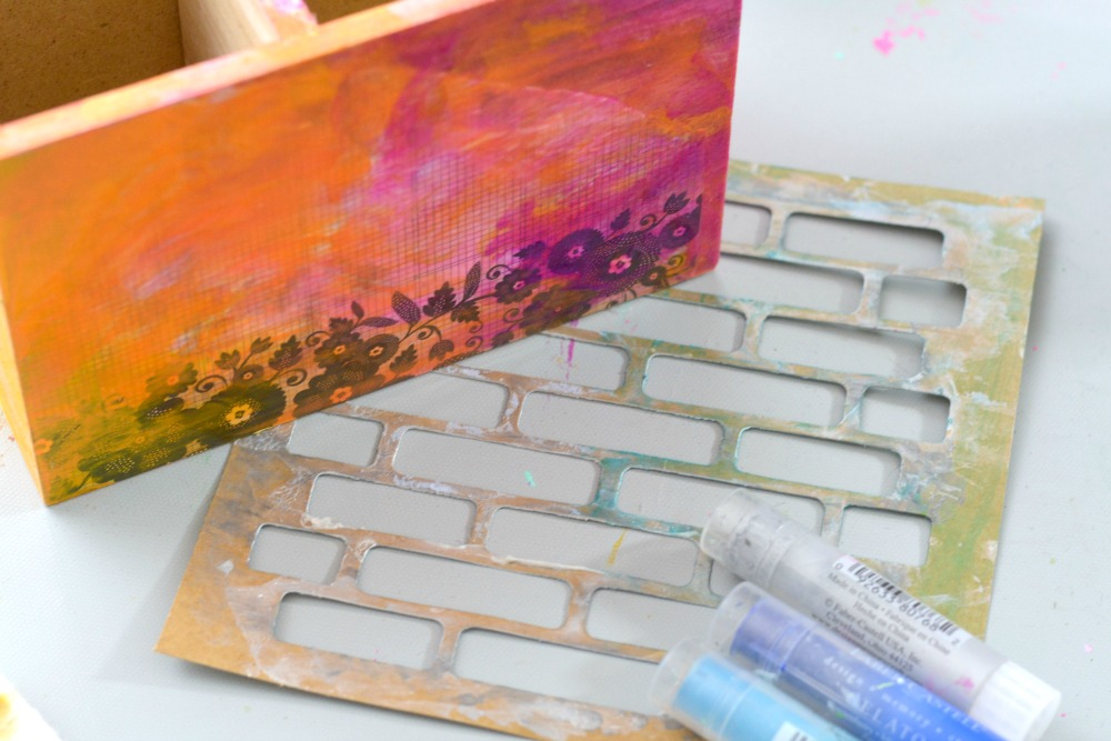 Mixed Media Decor | How to Stencil and layer designs on plain wood. A fun way to organize tools and supplies at happyhourprojects.com