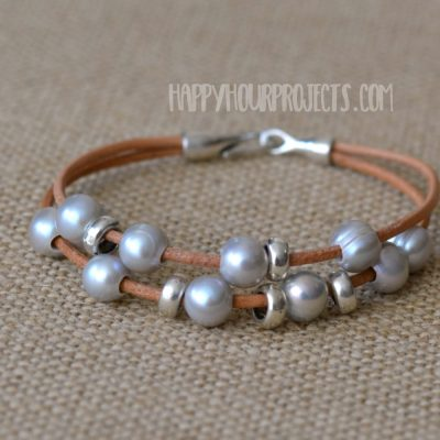 DIY Leather Bracelets | Pearl + Pewter Bead Bracelets at happyhourprojects.com