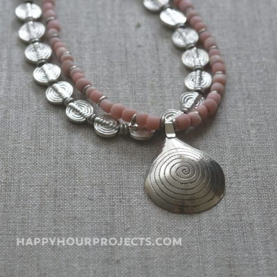 Coral Spiral Necklace | A 2-strand DIY necklace with a boho feel at happyhourprojects.com