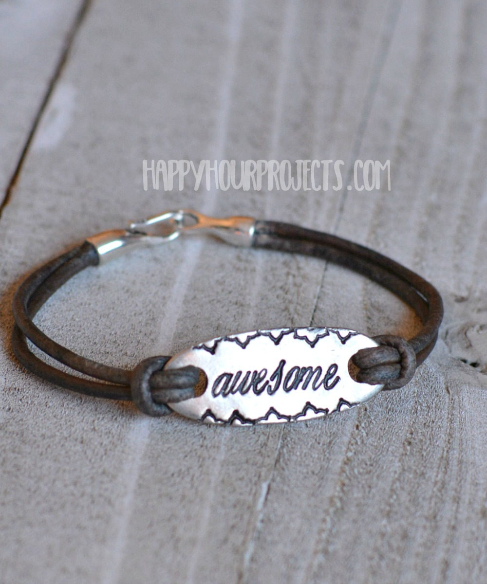 Awesome Diy Stamped Leather Bracelet At Hyhourprojects