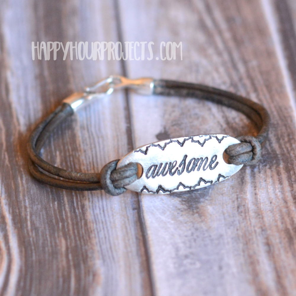 AWESOME DIY stamped leather bracelet at happyhourprojects.com