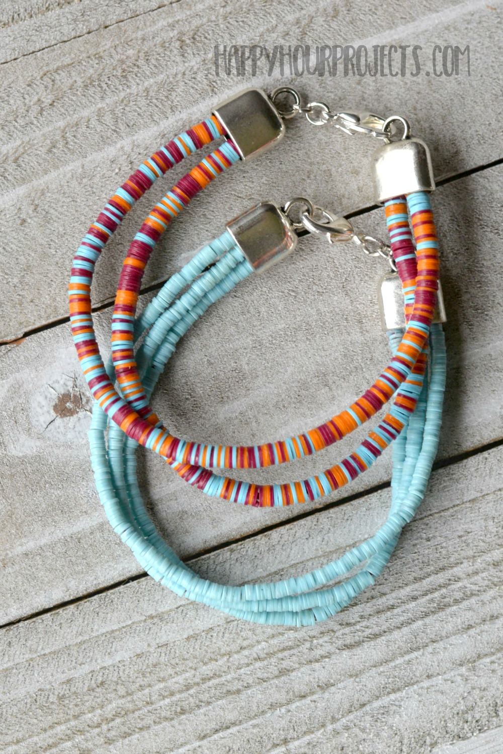 DIY Multi Strand Bracelet with Vinyl Disc Beads at happyhourprojects.com