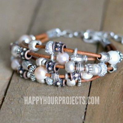 Make a layered bracelet with leather and textured beads at happyhourprojects.com
