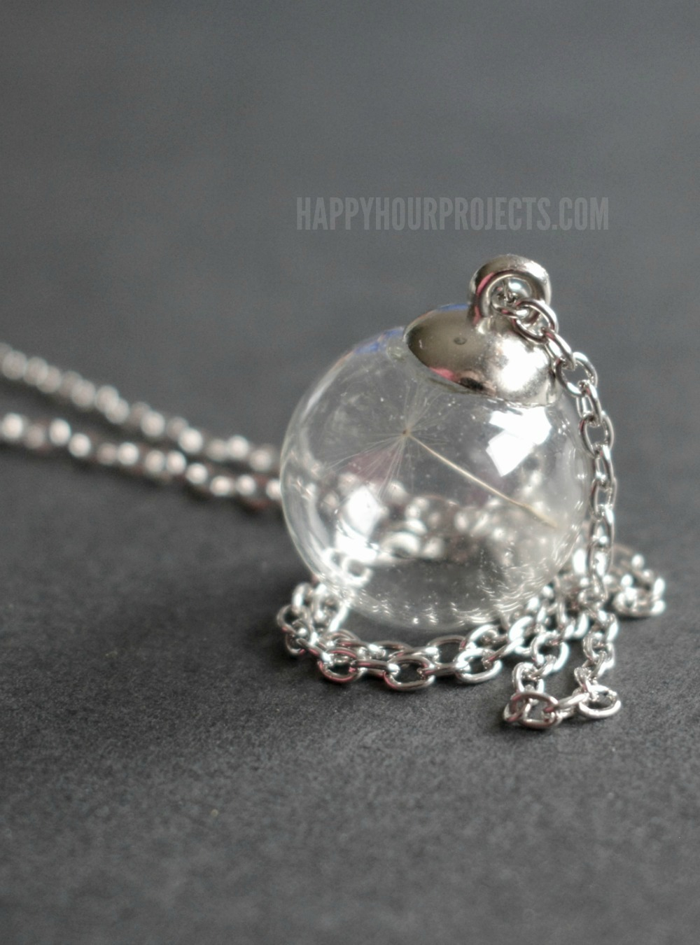 DIY Dandelion Seed Necklace | An easy-to-make jewelry gift or keepsake at happyhourprojects.com. Only takes about 10 minutes!