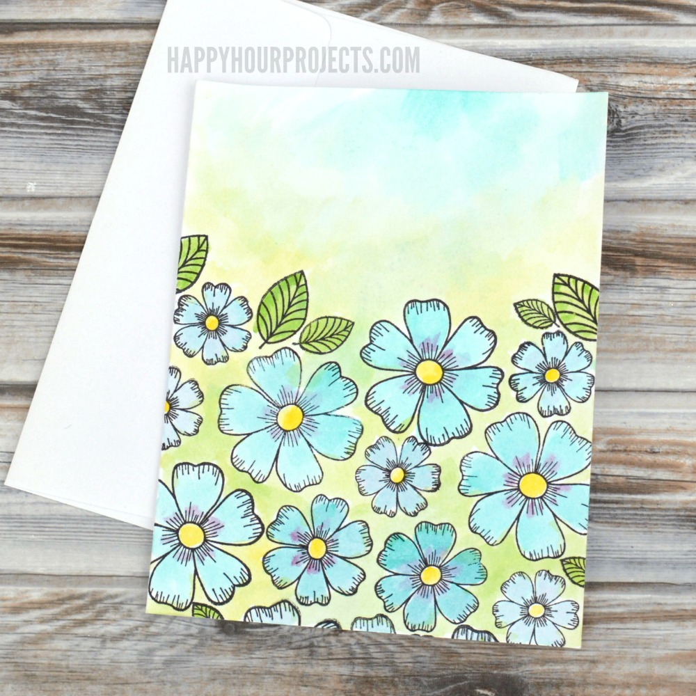 Floral Watercolor DIY Greeting Cards at happyhourprojects.com | These simple cards use stamps and inks for a whimsical watercolor look.