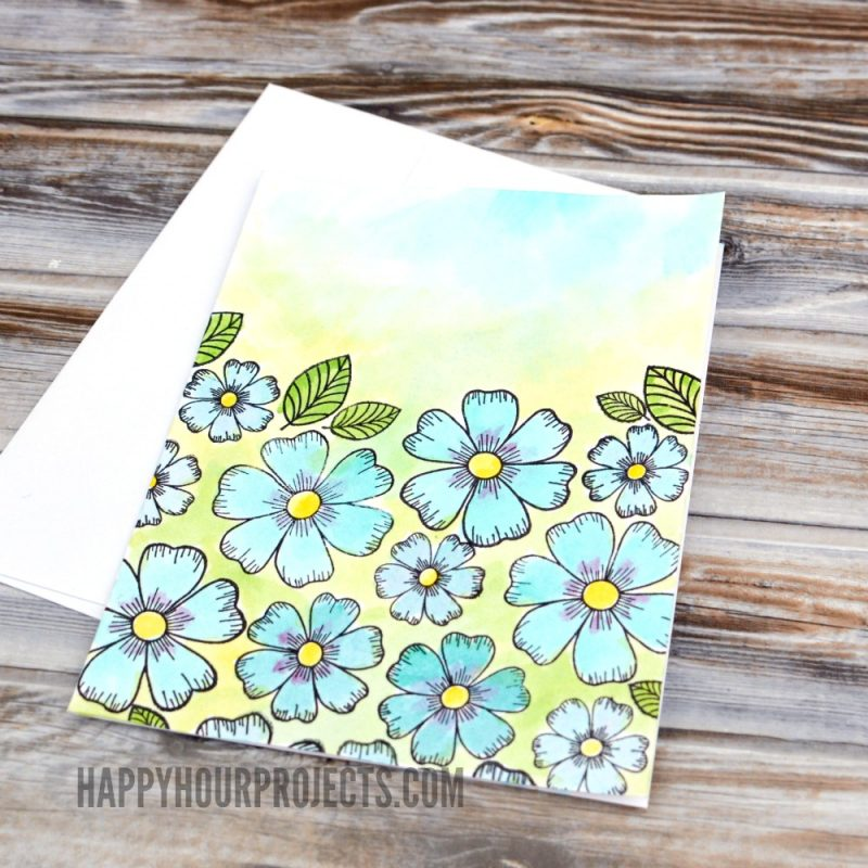 DIY Greeting Cards at happyhourprojects.com | Watercoloring can be as easy as using a coloring book! Make these sweet and simple watercolor DIY greeting cards for birthdays, thank yous, or any occasion!