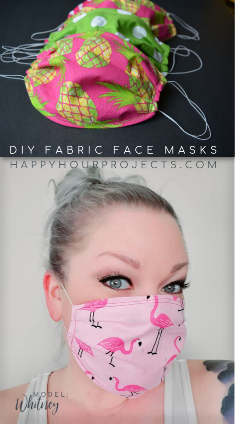 DIY Fabric Face Masks at happyhourprojects.com | See the steps to make easy fabric face masks for your family or to donate!
